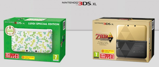 Zelda and Luigi themed Nintendo 3DS XL Consoles
